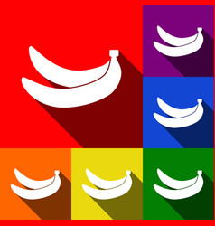 Banana simple sign set of icons with flat vector