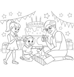 Childrens cartoon coloring of the holiday vector