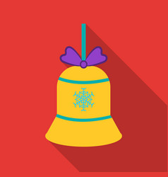 Christmas bell with snowflake icon in flat style vector