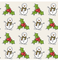 Christmas pattern with snowman vector