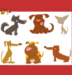 Cute dogs cartoon characters vector
