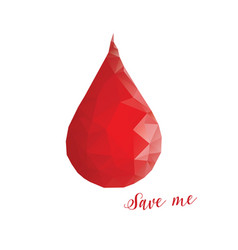 donation concept blood drop in low poly style vector image vector image