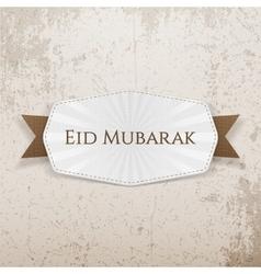 Eid mubarak badge with ribbon vector