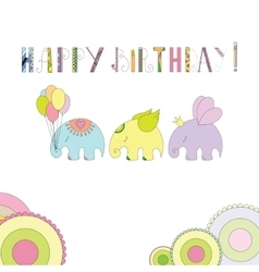 Elephants in cartoon style vector image