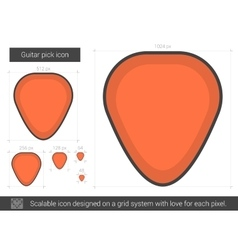 Guitar pick line icon vector