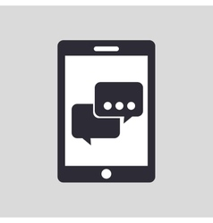 hand holding smartphone and bubble chat vector image