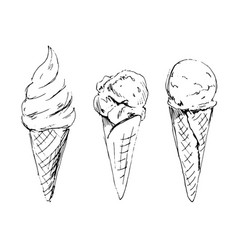 hand sketch ice cream in cone vector image