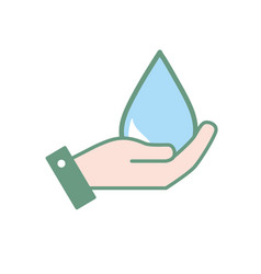 hand with natural water drop to environment care vector image vector image