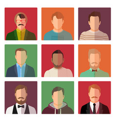 Male avatars in different style clothes vector