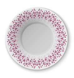 plate with crimson pattern vector image vector image