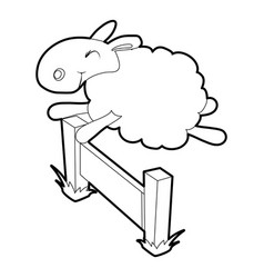 Sheep jumping over barrier icon outline style vector