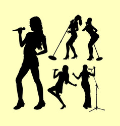 Singing female action silhouette vector