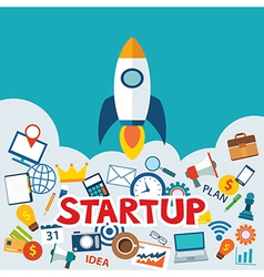 Startup new business project with rocket image vector