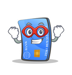 Super hero credit card character cartoon vector