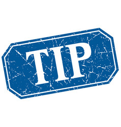 Tip blue square vintage grunge isolated sign vector