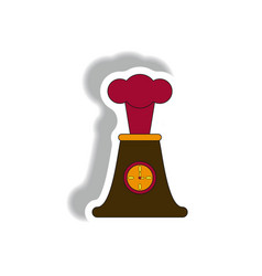 Volcano and timer volcano explosion and clock vector