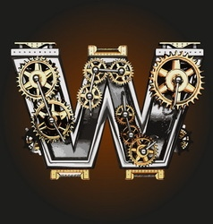 W letter with gears vector