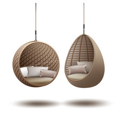 Wicker hanging chairs vector