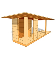 Wood shelter vector