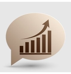 Growing graph sign brown gradient icon on bubble vector