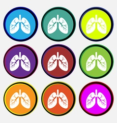 Lungs icon sign nine multi colored round buttons vector