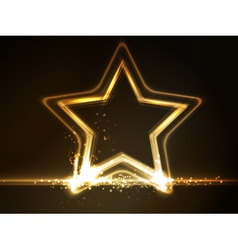 Golden glowing star frame vector