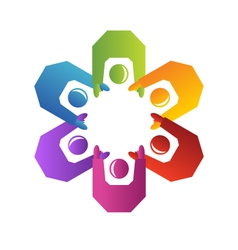 Teamwork people logo vector image