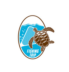 fishing trip icon of turtle and fishnet vector image