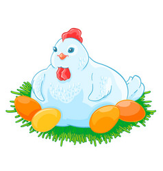 Mother hen is sitting the eggs hatch in the nest vector
