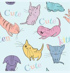 little kittens pattern vector image