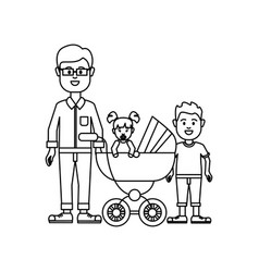 figure man with glasses and his baby and son icon vector image