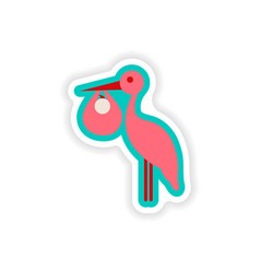 Paper sticker on white background baby and stork vector