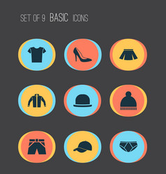 Clothes icons set collection of stylish apparel vector