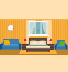 Bright bedroom interior with furniture and window vector