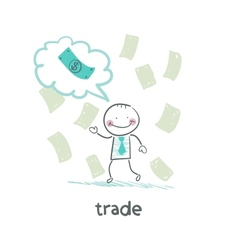 trade thinks about money vector image