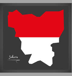 Jakarta indonesia map with indonesian national vector