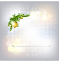 Silver new year gard with glass frame vector