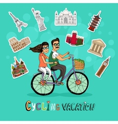 Couple on a cycling vacation vector