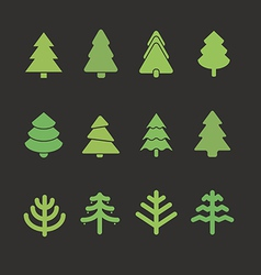 Different christmas tree set vector