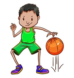 A boy wearing a green uniform vector