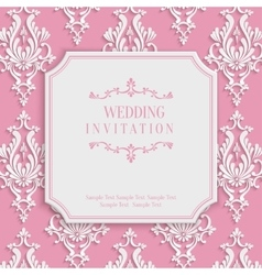 Pink vintage invitation card with 3d floral vector