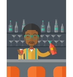 African bartender at the bar holding a drinks vector