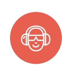 Head with headphone and sunglasses thin line icon vector