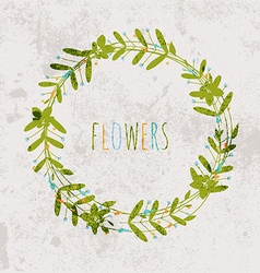 Spring flowers leaves dandelion grass on a vintage vector