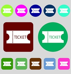 Ticket icon sign 12 colored buttons flat design vector