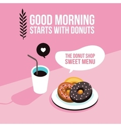 Perfect breakfast donuts coffee background modern vector
