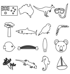 Australia country theme outline icons set eps10 vector