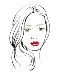 beautiful woman face hand drawn llustration vector image