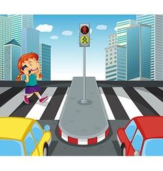 Girl talking on the phone and crossing street vector image