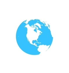 Flat simple blue earth icon isolated on white vector
